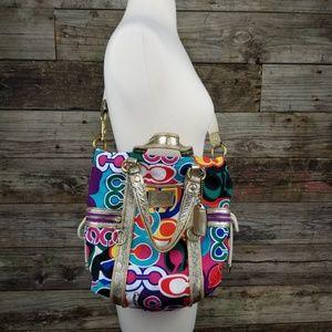 Coach Bag Rainbow Poppy  blue/gold purse
